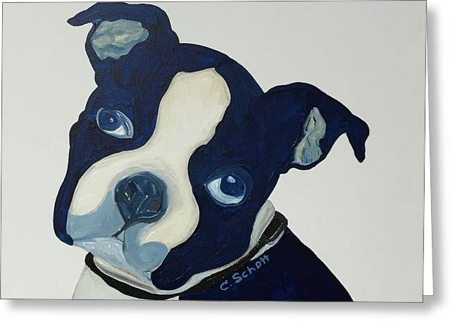 Puppies Paintings Greeting Cards - Puppy Love Greeting Card by Christina Schott