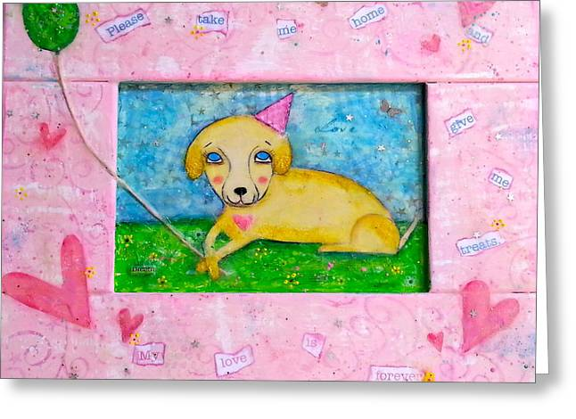 Puppies Mixed Media Greeting Cards - Puppy Love Greeting Card by Denise Rivkin