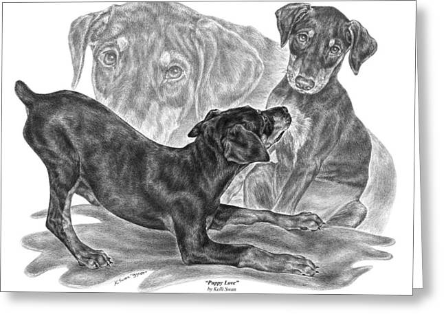 Doberman Pinscher Puppy Greeting Cards - Puppy Love - Doberman Pinscher Pup Greeting Card by Kelli Swan