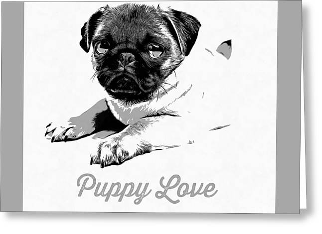 Animals Love Drawings Greeting Cards - Puppy Love Greeting Card by Edward Fielding