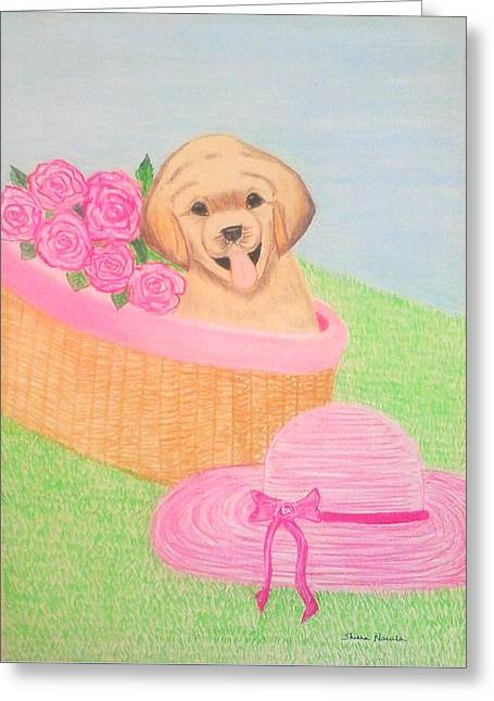 Puppies Pastels Greeting Cards - Puppy Love Greeting Card by Shikha Narula