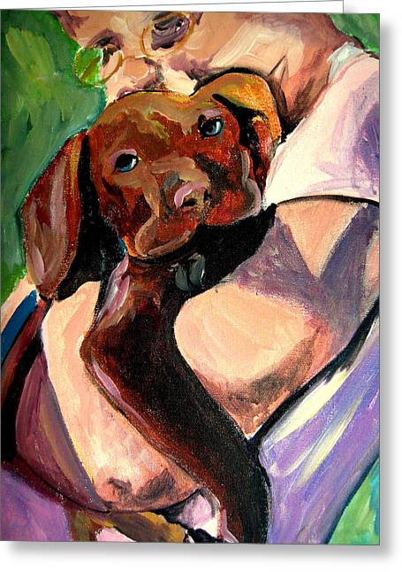 Chocolate Lab Greeting Cards - Puppy Love Greeting Card by Susan Gauthier