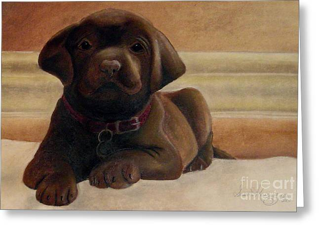 Puppies Pastels Greeting Cards - Puppy Love Greeting Card by Susan Kissinger