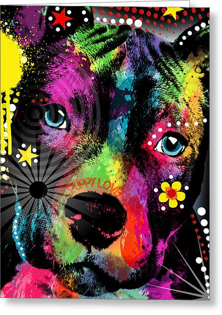 Puppies Mixed Media Greeting Cards - Puppy  Greeting Card by Mark Ashkenazi