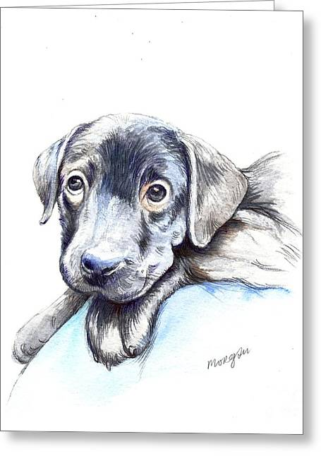 Puppies Mixed Media Greeting Cards - Puppy Greeting Card by Morgan Fitzsimons
