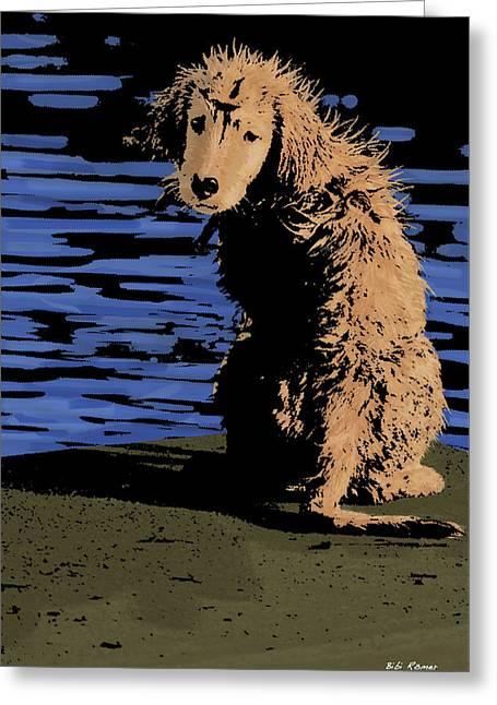 Puppies Mixed Media Greeting Cards - Puppy on Pier Pop Art Greeting Card by Bibi Romer