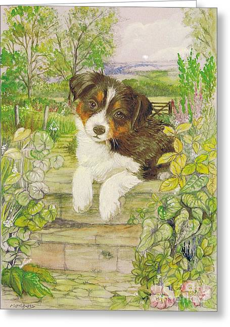 Puppies Mixed Media Greeting Cards - Puppy on the Step Greeting Card by Morgan Fitzsimons