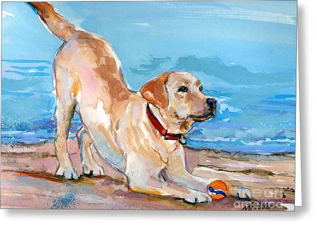 Puppy Pose Greeting Card by Molly Poole