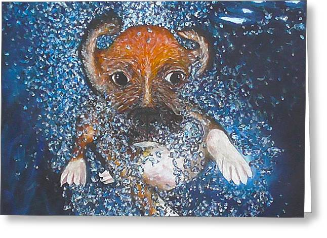 Puppies Paintings Greeting Cards - Puppy Underwater Greeting Card by Robbie Nuwanda