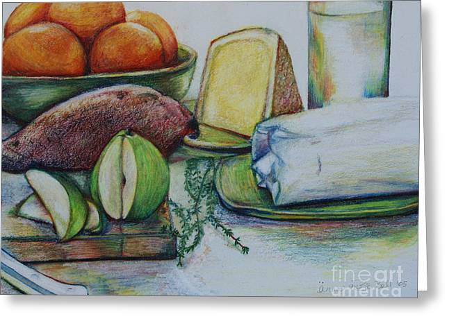 Cheeses Drawings Greeting Cards - Purchases From The Farmers Market Greeting Card by Anna Mize Bell