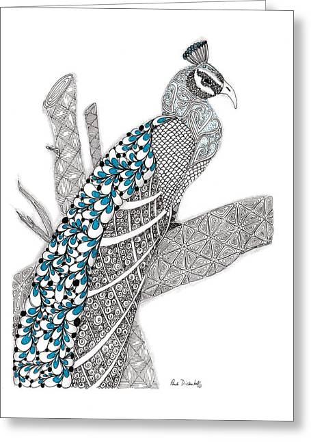 Purdy Peacock Greeting Card by Paula Dickerhoff