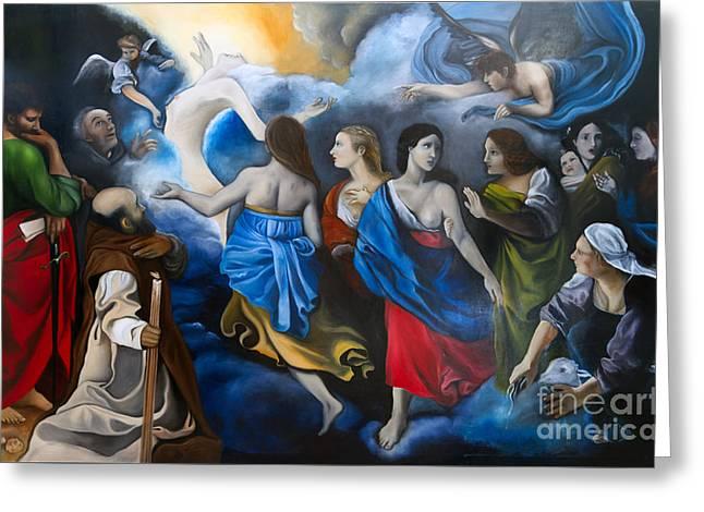 Glass Wall Drawings Greeting Cards - Purgatory of Maria Magdalena Greeting Card by Gabriela Junosova