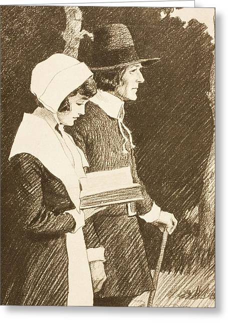 Puritan Greeting Cards - Puritan Couple On Way To Church In 16th Greeting Card by Ken Welsh