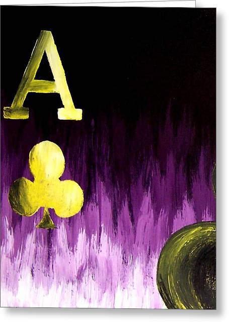 Purple Aces Poker Art1of4 Greeting Card by Teo Alfonso