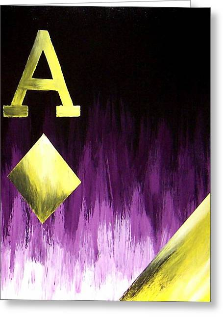 Purple Aces Poker Art2of4 Greeting Card by Teo Alfonso