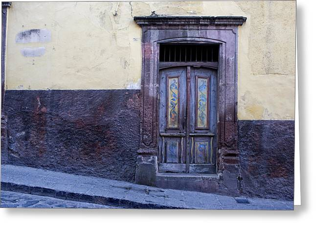 Architectural Detail Greeting Cards - Purple and Blue Door Mexico Greeting Card by Carol Leigh