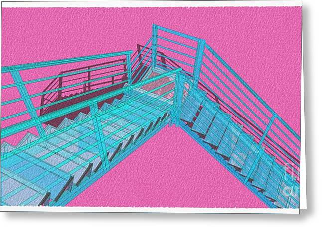 Purple And Cyan Stair 33 Architecture For Architects Greeting Card by Pablo Franchi