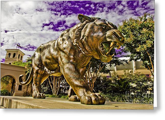 Mike The Tiger Greeting Cards - Purple and Gold Greeting Card by Scott Pellegrin