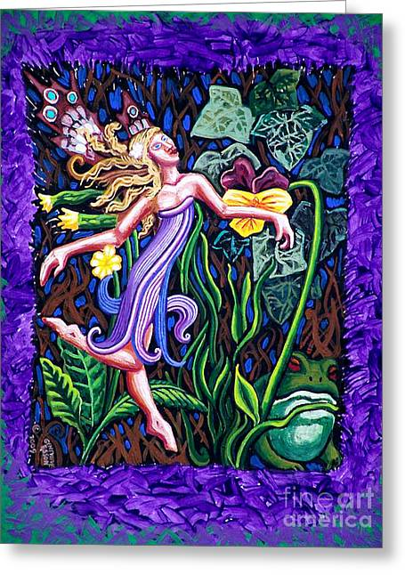 Purple And Green Fairy Greeting Card by Genevieve Esson