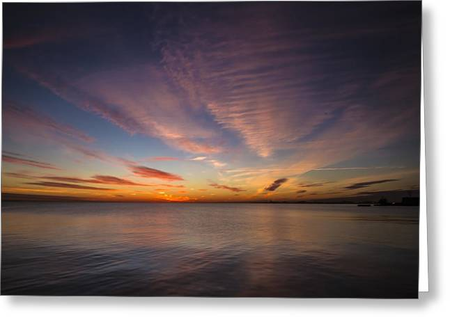 Lake Michgan Greeting Cards - Purple and Orange lakeside dawn Greeting Card by Sven Brogren