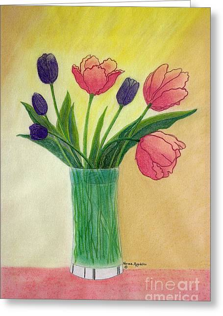 Appleton Paintings Greeting Cards - Purple and Pink Tulips Greeting Card by Norma Appleton