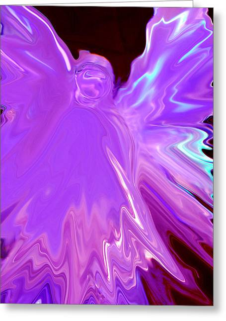 Angel Greeting Cards Greeting Cards - Purple Angel  Abstract Greeting Card by Michelle  BarlondSmith