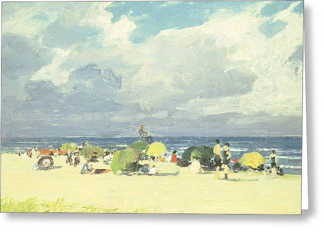 On The Beach Greeting Cards - Purple Beach Scene Greeting Card by Edward Henry Potthast