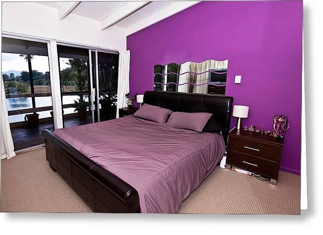 Sliding Glass Door Greeting Cards - Purple Bedroom Greeting Card by Darren Burton
