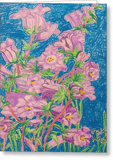 Seattle Pastels Greeting Cards - Purple Bells Greeting Card by Joy Elizabeth Kim