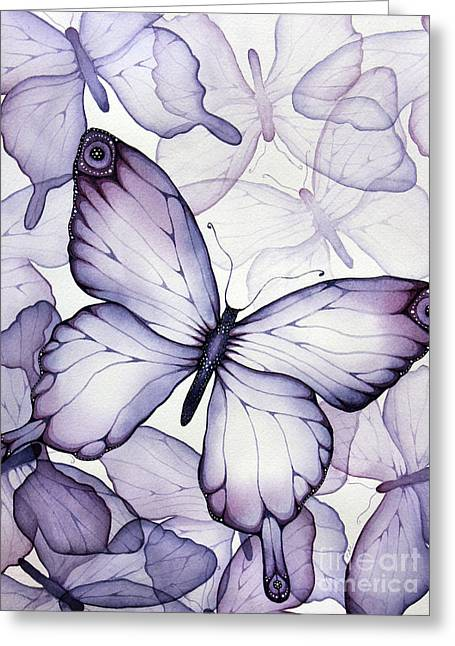 Transparent Greeting Cards - Purple Butterflies Greeting Card by Christina Meeusen