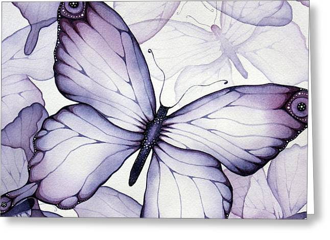 Purple Butterflies Greeting Card by Christina Meeusen