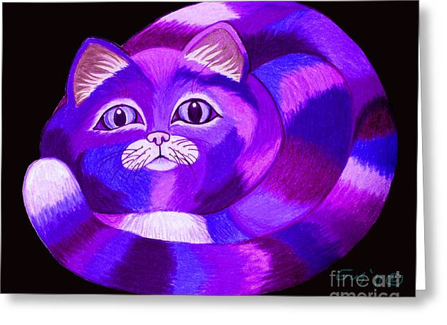 Cat Drawings Greeting Cards - Purple Cat Greeting Card by Nick Gustafson
