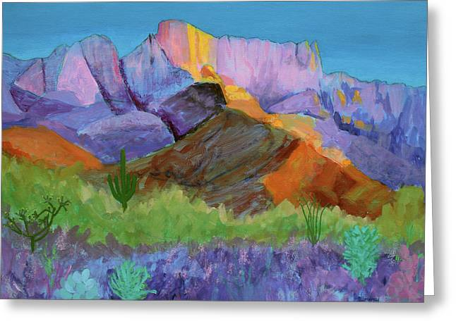 Purple Catalina Greeting Card by Mordecai Colodner