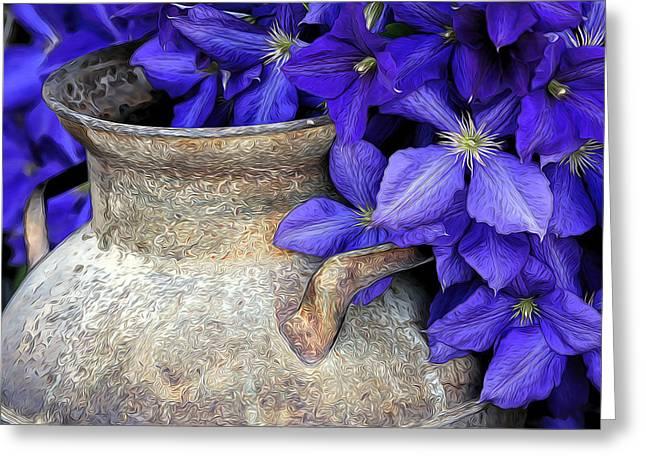 James Steele Greeting Cards - Purple Clematis And A Milk Can Greeting Card by James Steele