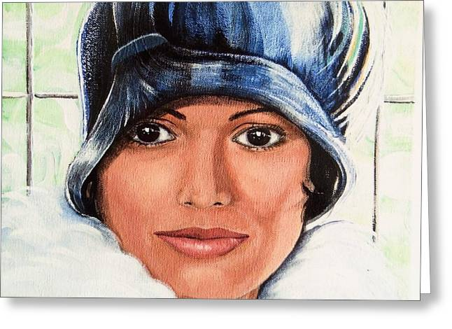 Cloche Hat Greeting Cards - Purple Cloche Greeting Card by Barbara Chase