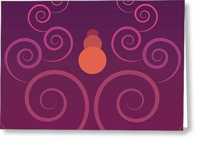 Spiral Tapestries - Textiles Greeting Cards - Purple Clouds Greeting Card by Ala Lockhart