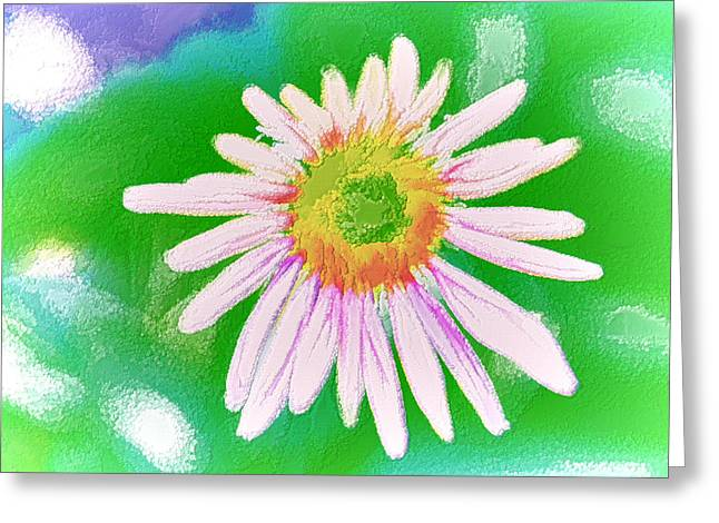 Abstracted Coneflowers Paintings Greeting Cards - Purple cone flower Greeting Card by Lanjee Chee