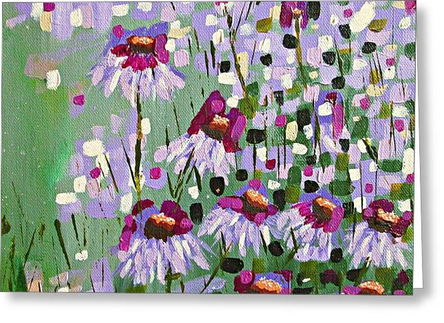 Abstracted Coneflowers Paintings Greeting Cards - Purple Coneflowers Greeting Card by Mary Mirabal