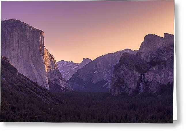 Purple Dawn At Yosemite Tunnel View Greeting Card by Priya Ghose