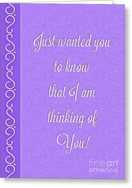 Special Occasion Greeting Cards - Purple Deco Thinking of You Greeting Card by JH Designs