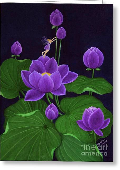 Purple Mushrooms Greeting Cards - Purple Greeting Card by Desiree Micaela