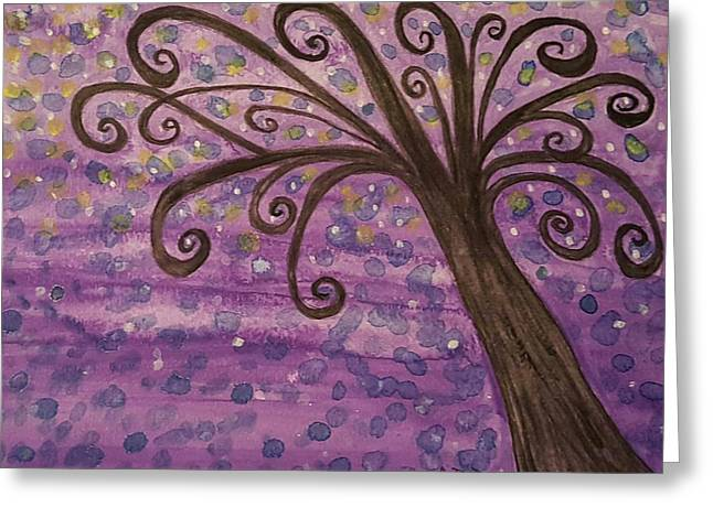 Twinkle Greeting Cards - Purple Dreams Greeting Card by Ashley Dunn