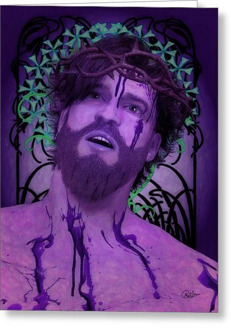 Purple Ecce Homo Greeting Card by Joaquin Abella