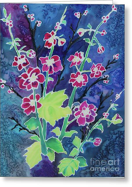 Dyes On Silk Greeting Cards - Purple Enhancement Greeting Card by Henny Dagenais