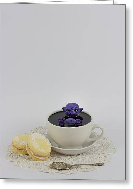 Cute Sculptures Greeting Cards - Purple fairy in a Teacup Greeting Card by Michael Palmer