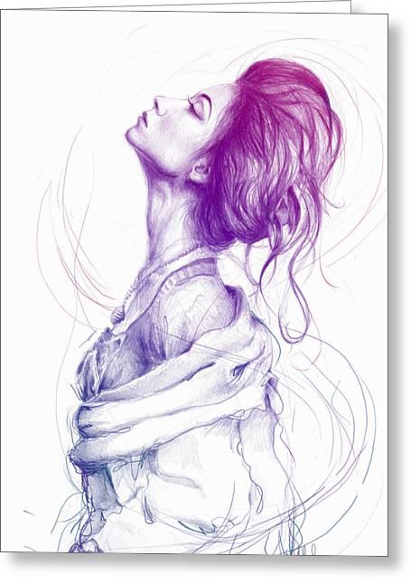 Purple Fashion Illustration Greeting Card by Olga Shvartsur