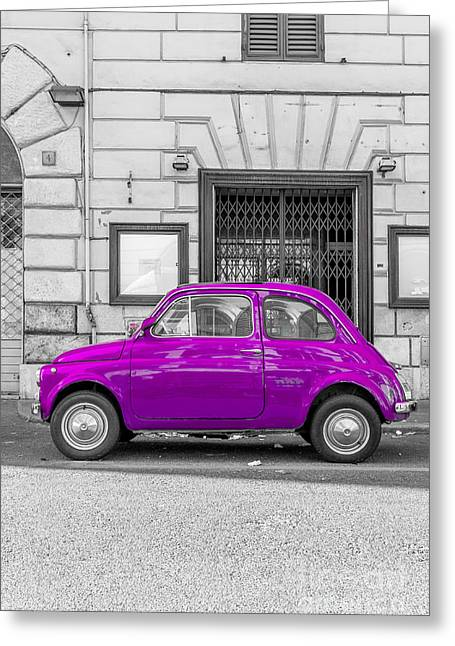 Fiat 500 Greeting Cards - Purple Fiat 500 Rome Italy Greeting Card by Edward Fielding