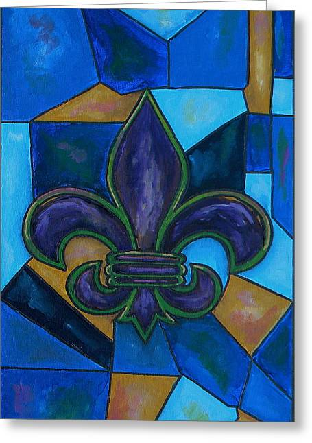 Purple Fleur De Lis Greeting Card by Patti Schermerhorn