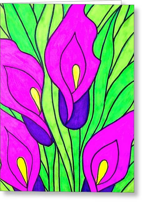Most Favorite Drawings Greeting Cards - Purple Flowers Greeting Card by Alesya Cabral