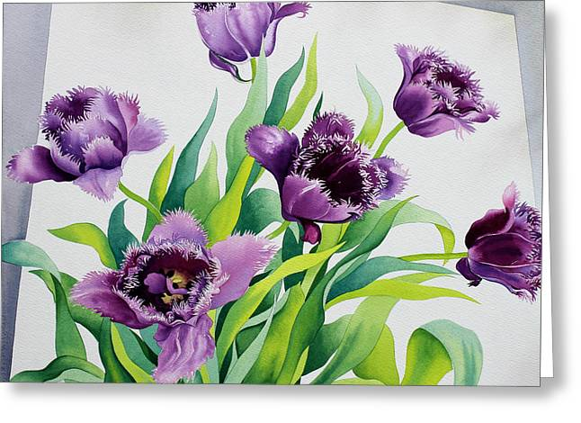 Purple Fringe Tulips Greeting Card by Christopher Ryland